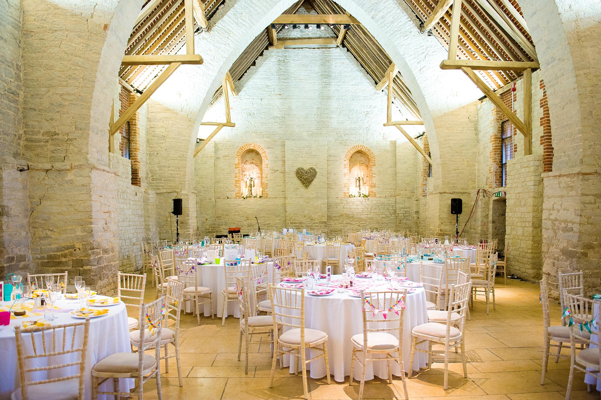 Jo and Phil's colourful Tithe Barn wedding - early highlights collection